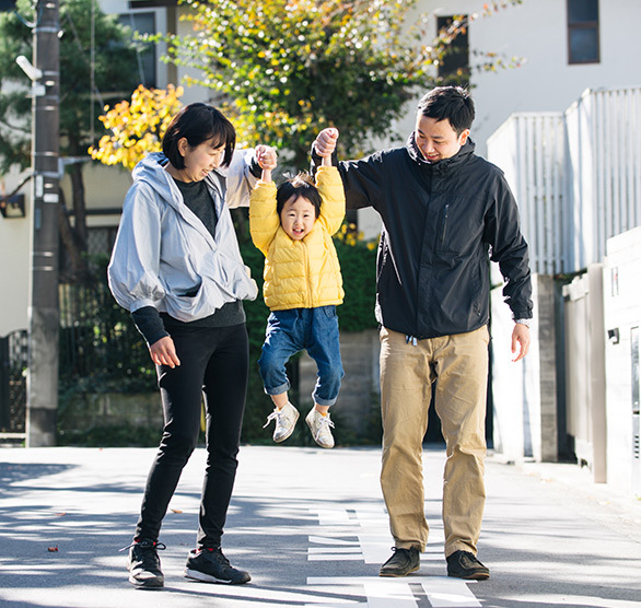family walking with son